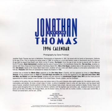 Jonathan Taylor Thomas Calendar 1996 Description