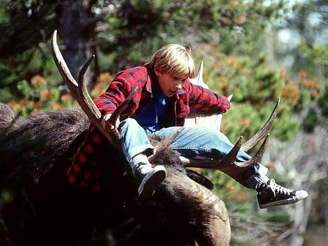 Marshall (Jonathan Taylor Thomas) riding a moose in Wild America.