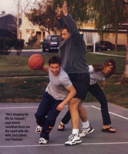 """He's shaping his d life for himself,"" says friend Jonathan Koch (on the court with his wife, Cory Oliver, and Thomas)."