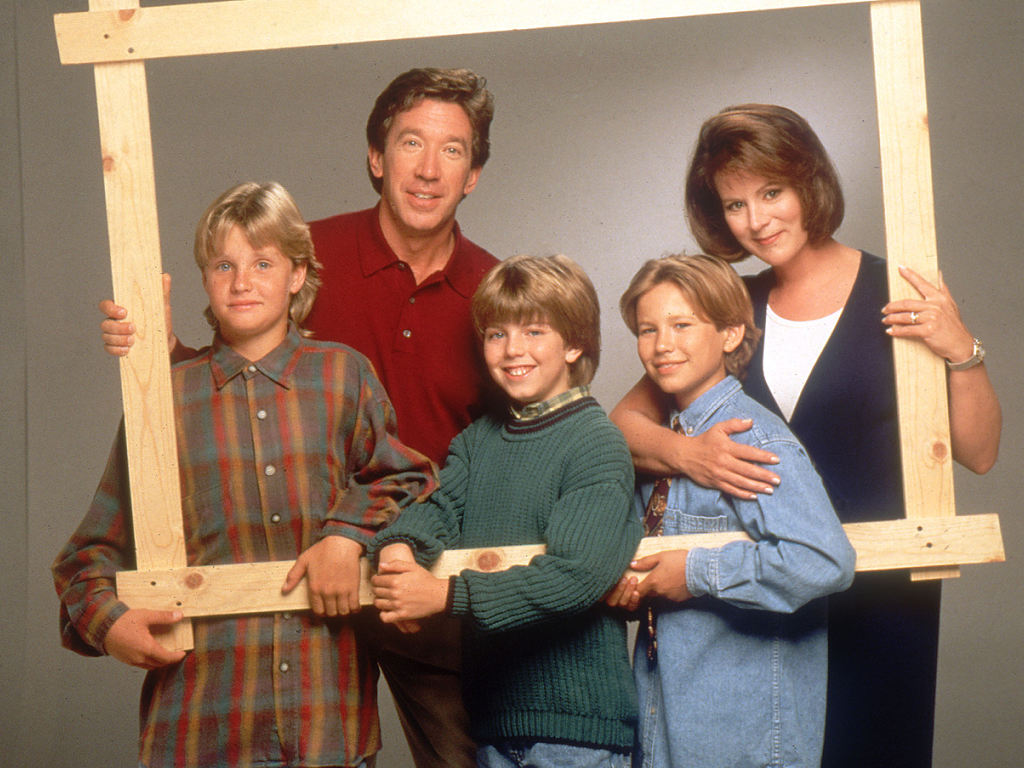 Jonathan Taylor Thomas, Tim Allen, Patricia Richardson, Zachery Ty Bryan and Taran Noah Smith in TV-show Home Improvement (Copyright ABC.com)
