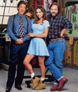 Tim (Tim Allen), Heidi (Debbe Dunning) and Al (Richard Karn) in a still from Home Improvement.