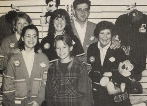 Jonathan Taylor Thomas with the manager and workers at the Disney souvenier store in Cleveland, Ohio.
