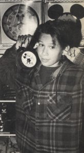 Jonathan Taylor Thomas with a Mickey Mouse alarm clock at the Disney souvenir store in Cleveland, Ohio.