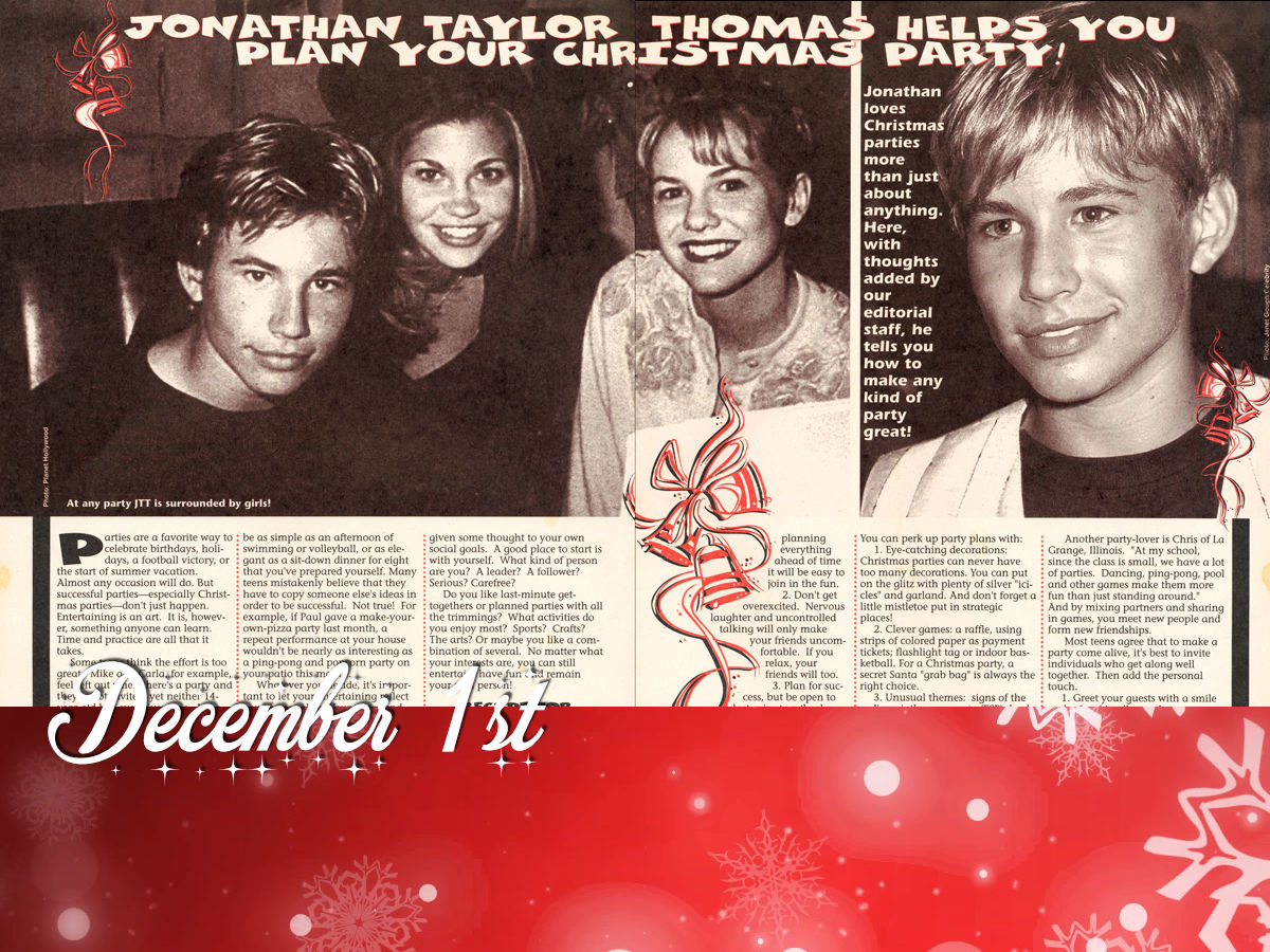 December 1st - Jonathan Taylor Thomas Helps You Plan Your Christmas Party!